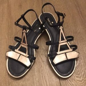 Kate Spade Black & Gold Eiffel Tower Sandals